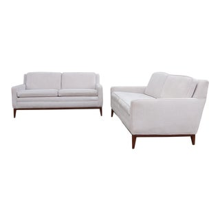 Circa 1950 United States Modern Dunbar/John Stuart Cream Velvet Sofas - a Pair For Sale