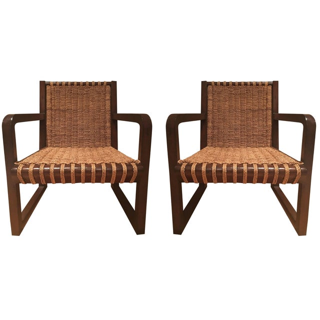Dark Mahogany Penelope Woven Chairs - A Pair - Image 1 of 7