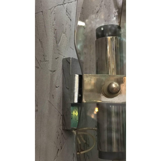 Smoky Beveled Glass Sconces by Veca - a Pair For Sale In Palm Springs - Image 6 of 7