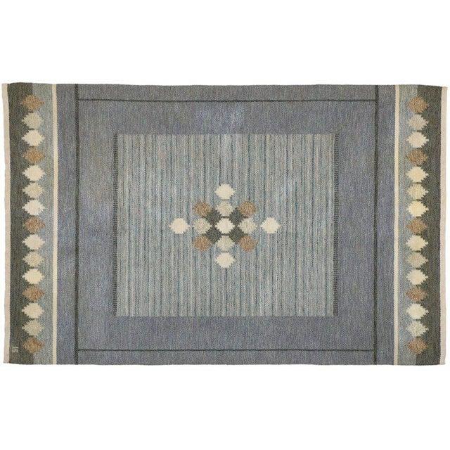 Textile Vintage Mid-Century Swedish Kilim Rug - 5′2″ × 8′ For Sale - Image 7 of 8