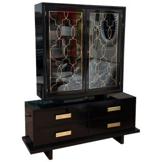 Vintage Grosfeld House Black Lacquer Cabinet For Sale