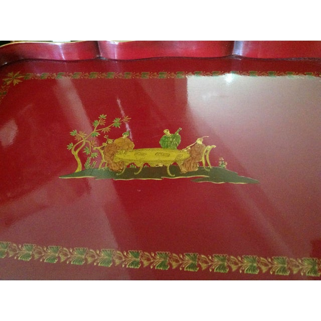 Superb Chinoiserie Style Tole Tray Table on Original Stand For Sale - Image 10 of 13