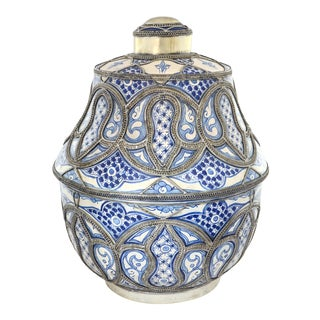 """Moroccan Blue & White 19"""" Pottery Jar For Sale"""