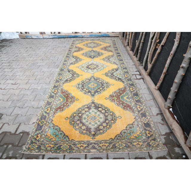 1960's Vintage Turkish Hand-Knotted Wide Long Runner-4′7″ × 12′10″ For Sale - Image 11 of 11