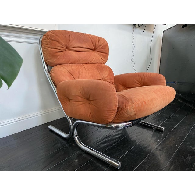 1970s Vintage Milo Baughman Pumpkin Suede Chair & Ottoman For Sale - Image 5 of 11