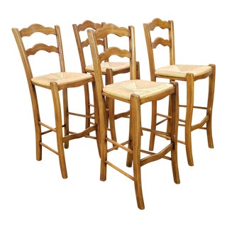 Italian Rattan and Wicker Barstools - Set of 4 For Sale
