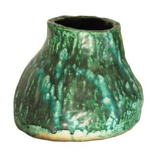 Vintage Green Drip Glaze Brutalist Pottery Vase For Sale