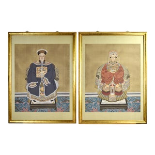 Vintage Pair Finely Rendered Chinese Ancestor Portrait Gouache Paintings For Sale