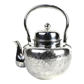 Antique Japanese Pure Silver Teapot/Kettle Decorated With Chrysanthemums For Sale