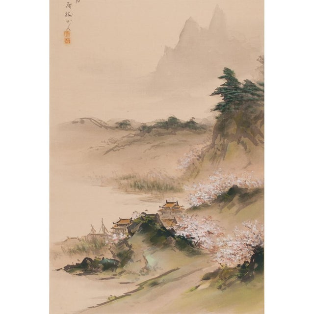 Gouache C. 1920-1940s Japanese Four Landscapes Byobu Screen For Sale - Image 7 of 13