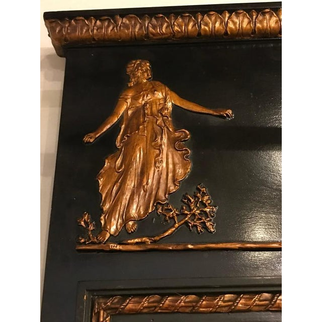 French Ebonized Neoclassical Style Wall or Console Mirror For Sale - Image 4 of 11