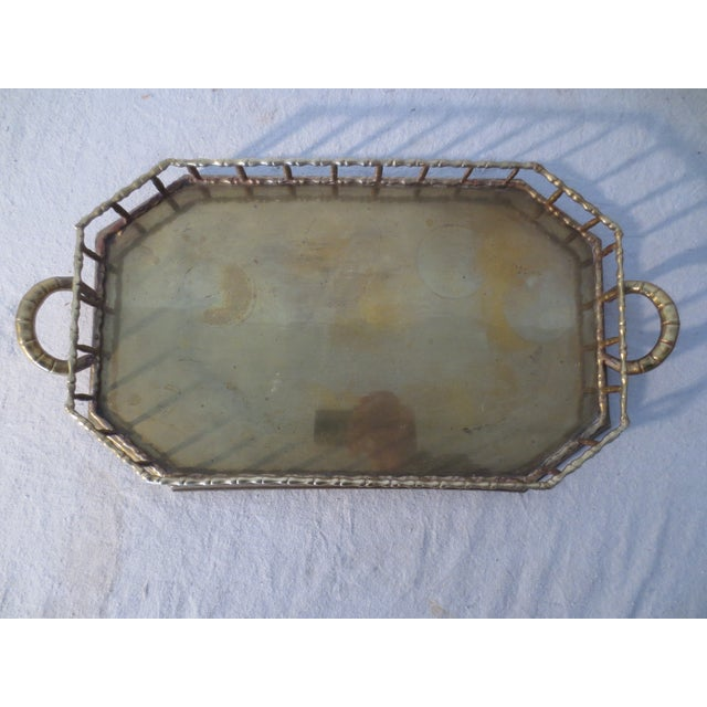 60s Brass Serving Tray With Gallery - Image 3 of 7