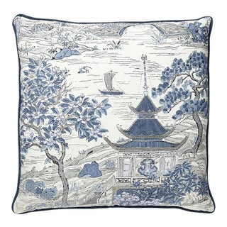 Satomi Hand Block Print Pillow with Trim in Blue For Sale