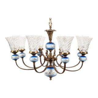 Vintage 8-Light Blue Porcelain Chandelier With Cut Glass Shades Electric For Sale