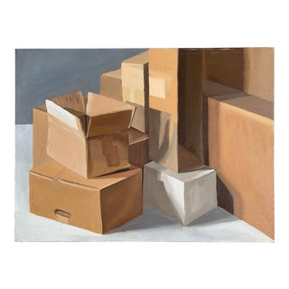 Boxes Still Life Acrylic Painting on Canvas For Sale