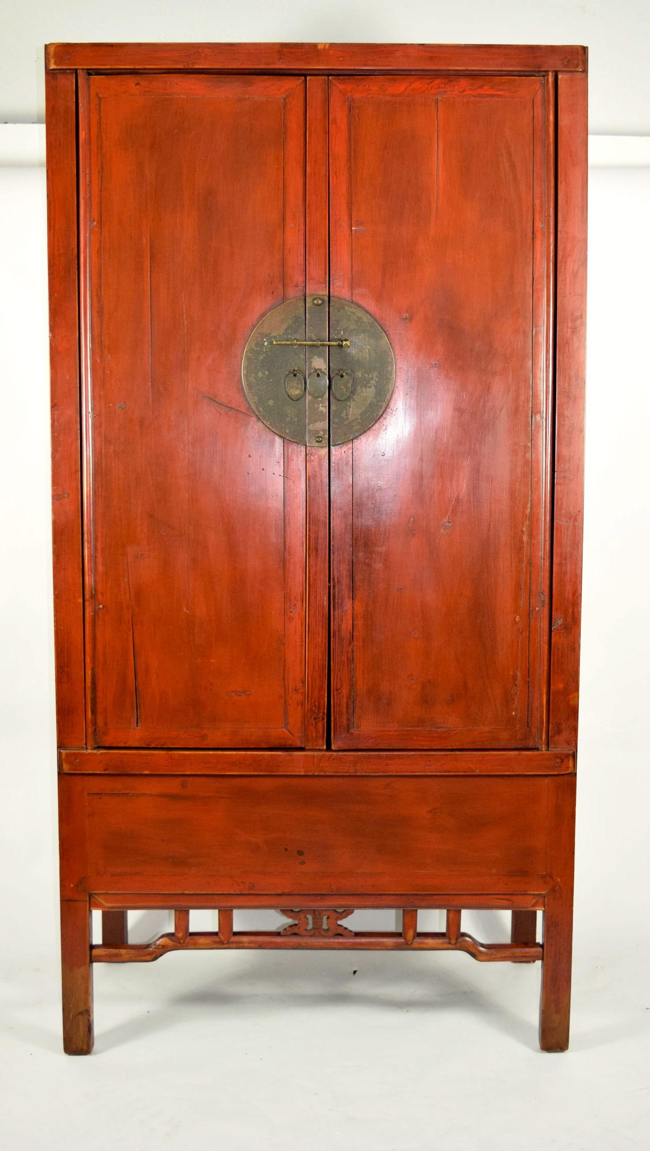 Large Antique Chinese Red Armoire Wedding Cabinet   Image 2 Of 8