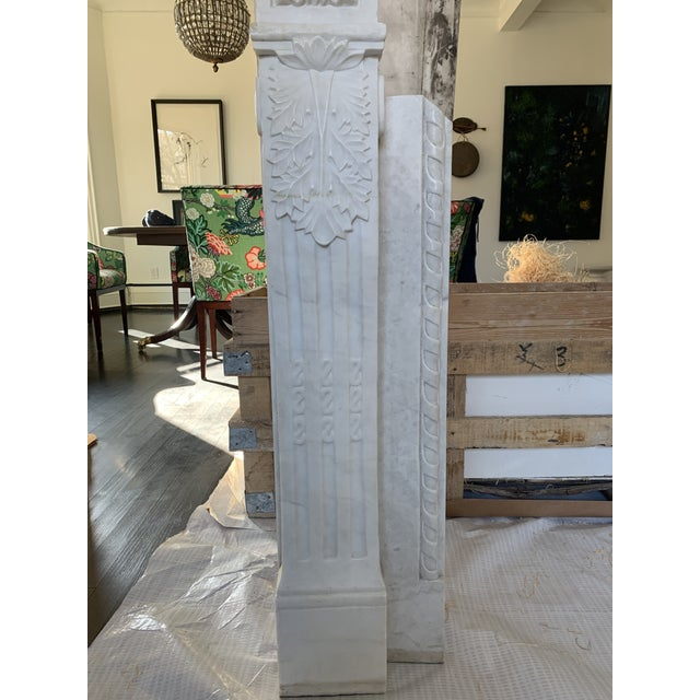 Early 20th Century 1900s Marble Fireplace Mantel For Sale - Image 5 of 12