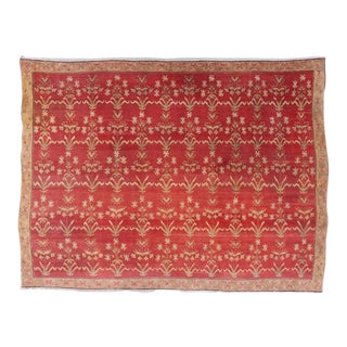 Red Ground Agra Carpet With Mughal Shrub Design For Sale