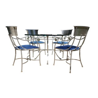 1960s Hollywood Regency Maison Jansen Bronze and Iron Breakfast Table Dining Set - 5 Pieces For Sale