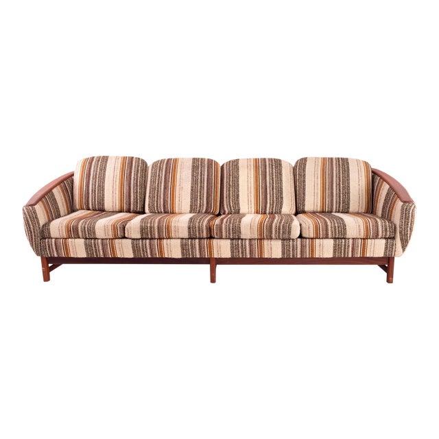1970s Vintage Pattern Wool Fabric Teak Barrel 4 Seater Sofa