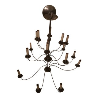 Brushed Steel Pierre Deux Chandelier For Sale