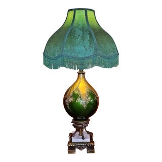 Vintage Murano Glass Table Lamp With Gold Overlay and Bronze and Marble Mounts