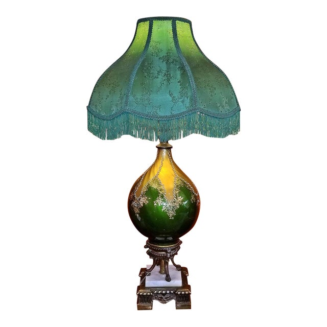 Vintage Murano Glass Table Lamp With Gold Overlay and Bronze and Marble Mounts For Sale
