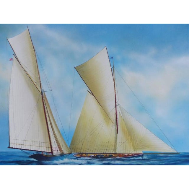 """An original painting of sailboats titled """"New Bounty"""" signed lower right by artist Gabriel Duarte (Argentine). In the..."""