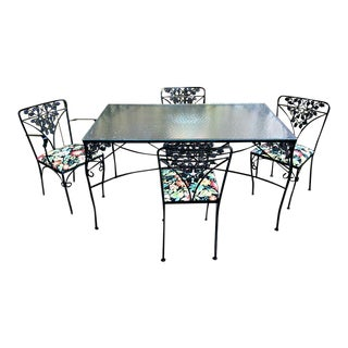 1950s Art Deco Woodard Orleans Wrought Iron Patio Dining Set - 5 Pieces For Sale