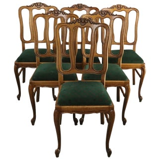 Dining Chairs Louis XV Rococo Green Upholstery - Set of 6 For Sale