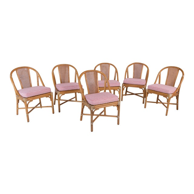 1960s Vintage McGuire Furniture Rattan Dining Chairs- Set of 6 For Sale