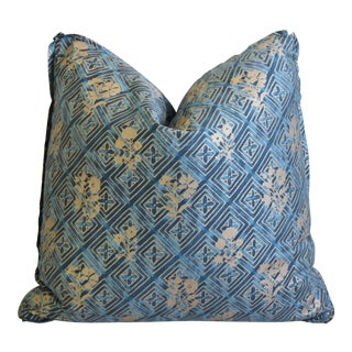 """Italian Mariano Fortuny Floral Bouquet Feather/Down Pillow 21"""" Square For Sale"""
