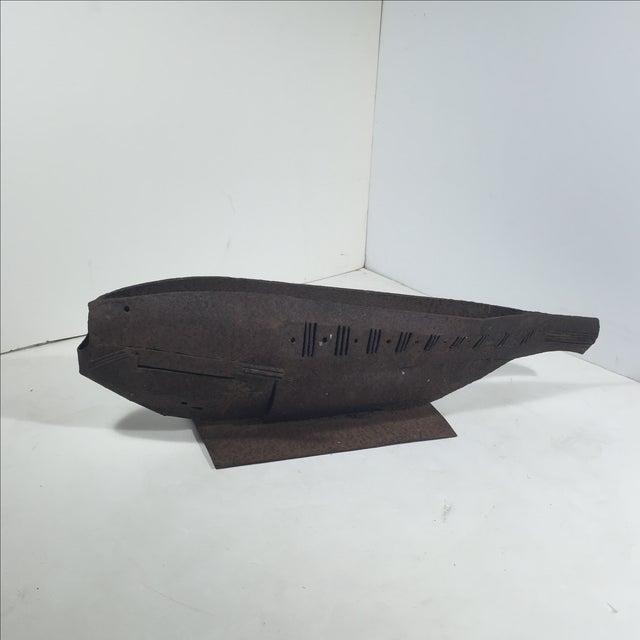 Brutalist Metal Fish Sculpture - Image 11 of 11
