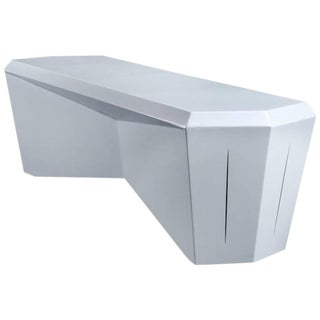 Contemporary Hedra Bench Geometric Steel Bench in Pearl White by Topher Gent For Sale