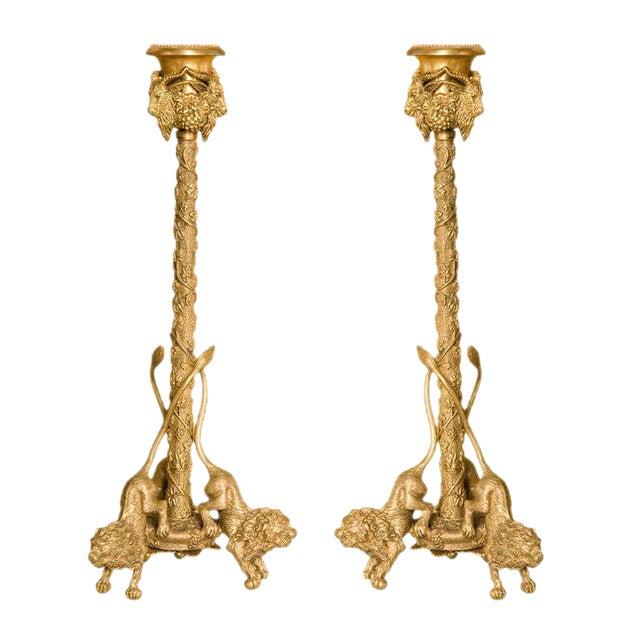 Pair Renaissance-Style Gilt Bronze Candlesticks For Sale