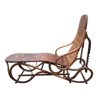 1930s Vintage Thonet Style Rattan Bamboo Chaise Lounge For Sale