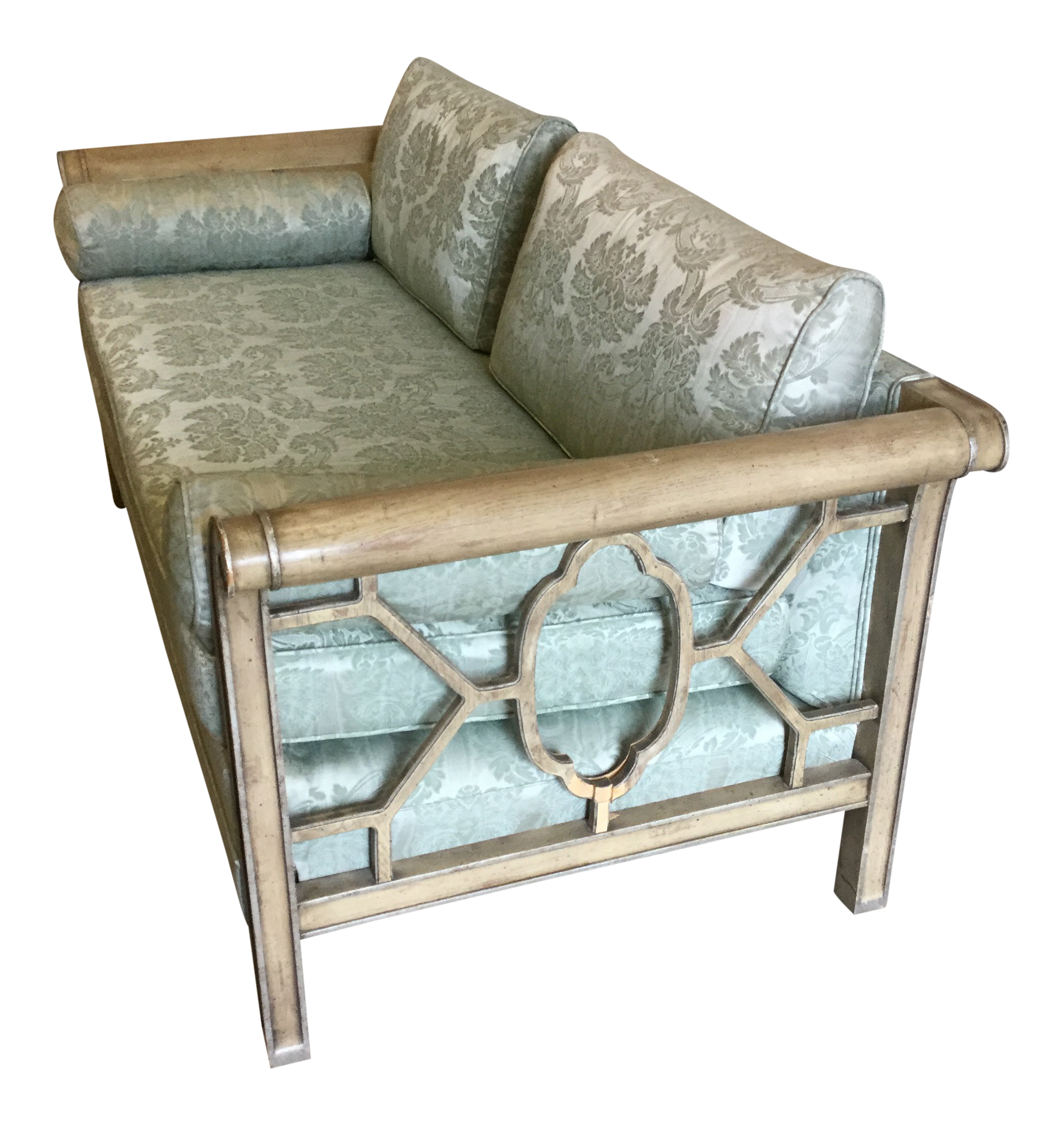 Palm Beach Regency Style Fretwork Love Seat For Sale