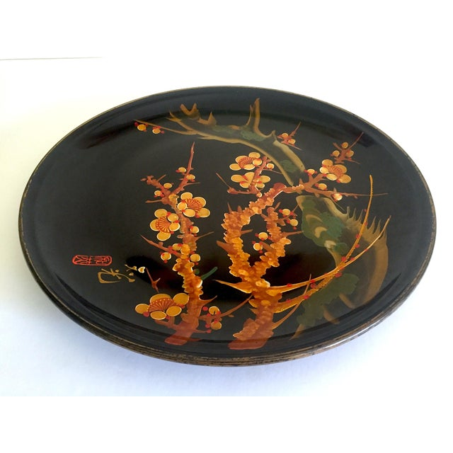 Vintage Mid Century Japan Hand Painted Flower Branch Blossoms Large Round Lacquer Tray Platter For Sale - Image 10 of 13