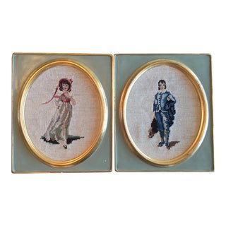 Late 1800s Needle Point Portraits - A Pair For Sale