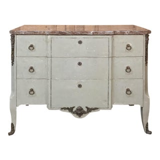 19th Century French Louis XVI Painted Marble Top Commode For Sale