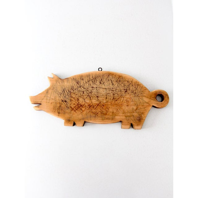 Cottage Vintage Wooden Pig Cutting Board For Sale - Image 3 of 7