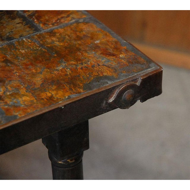 Iron Jacques Adnet French Mid-Century Slate Coffee Table For Sale - Image 7 of 7