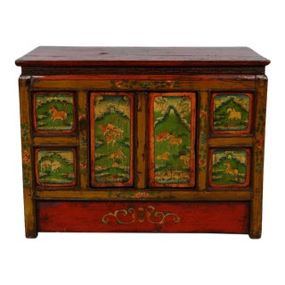 Early 20th Century Antique Tibetan Colorful Chest For Sale