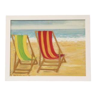 Vintage Belgian Beach Painting For Sale