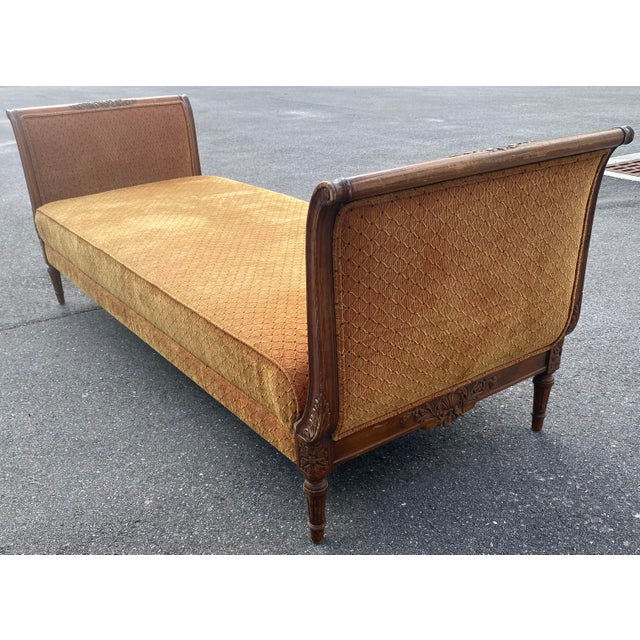 Burnt Orange 1940s French Walnut Sleigh Daybed For Sale - Image 8 of 12