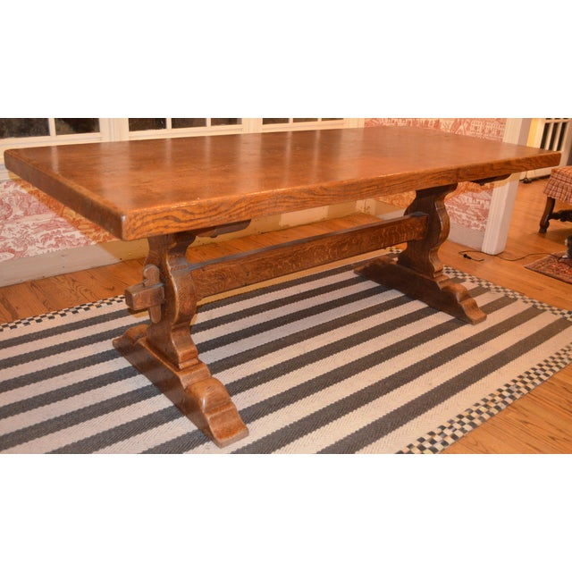 French Country Trestle Farm Table For Sale - Image 10 of 10
