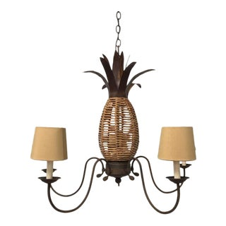 New Rustic Design Pineapple Five Light Chandelier For Sale