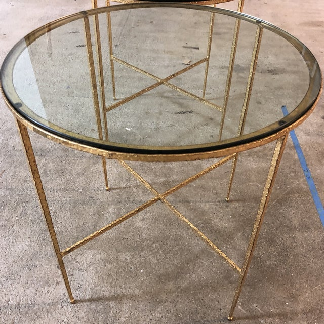 Glass Pair of Custom Gold Finish Round Side Tables For Sale - Image 7 of 12