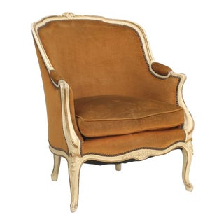 French Louis XV Bergere Chair in Original Paint For Sale