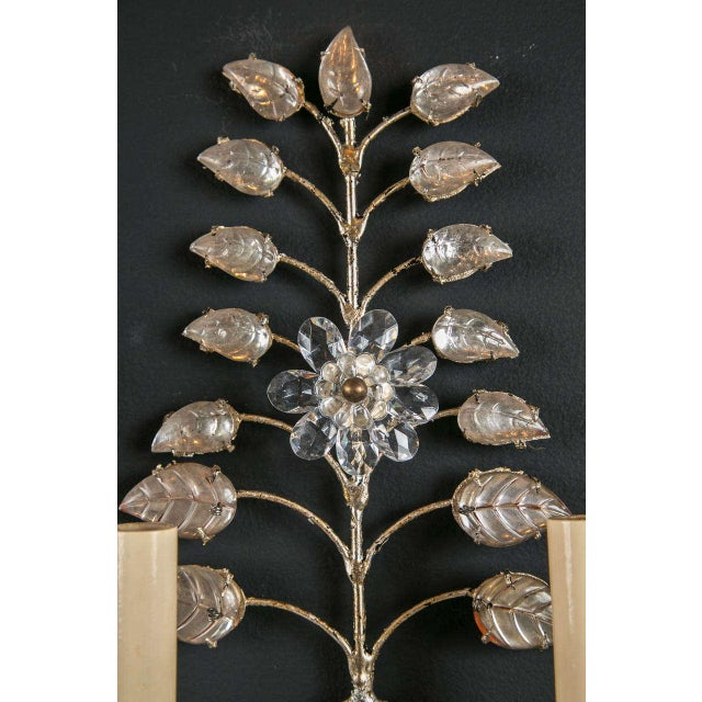 1930s French Crystal and Silver Leaf Sconces - a Pair For Sale - Image 4 of 8